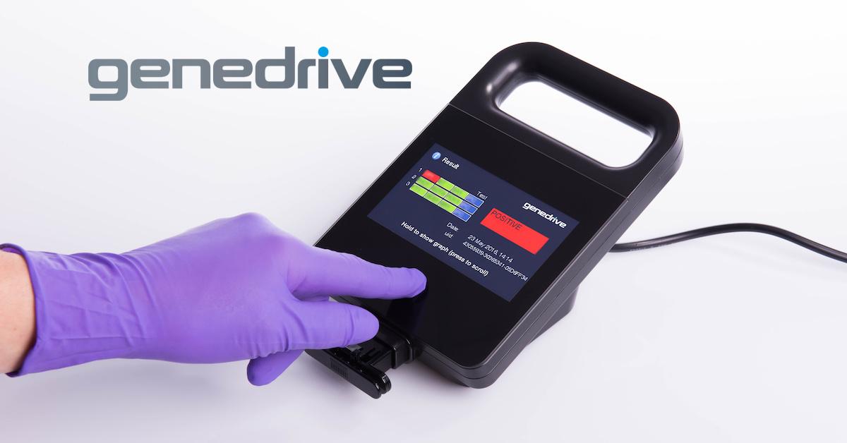 Genedrive Bioplex Image of screen on positive plus hand_logo